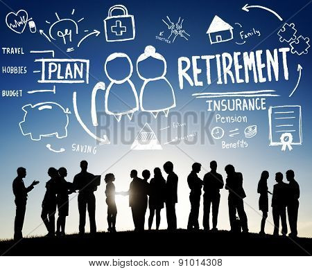 Retirement Insurance Pension Saving Plan Benefits Travel Concept