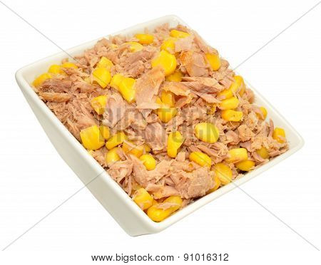 Tuna Fish And Sweet Corn Mixture In Dish