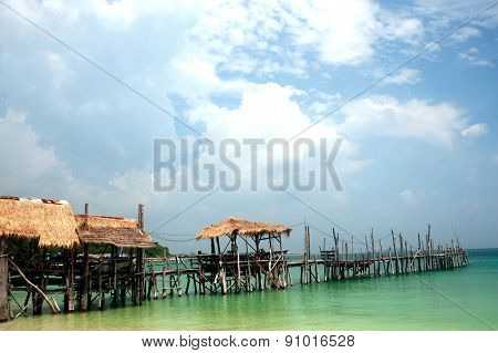 Traditional Floating Restaurants Thai Style On The Beach.