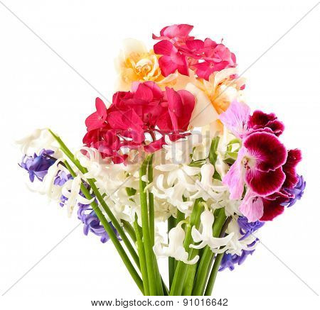 Beautiful bouquet of bright flowers isolated on white