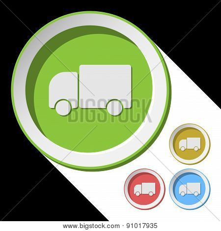 Color Icons With Lorry Car