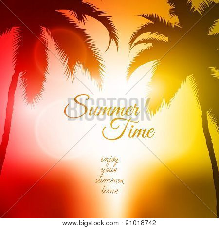 Summer Time Vector Background | Palm Tree Sunset