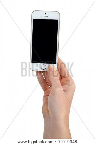 Plzen,Czech Republic - October 11, 2014 : Woman Hand Holding Apple iPhone 5S Smart Phone