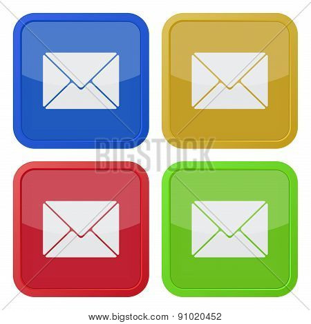 Set Of Four Square Icons With Envelope