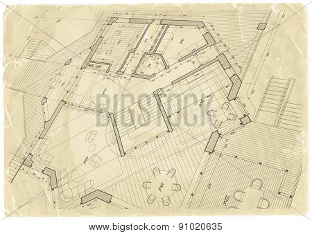 architecture blueprint - house plan & old paper background