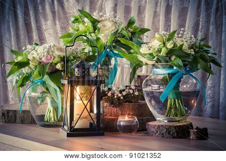 Still Life With Three Wedding Bouquets And Candles, Vintage Stylized.