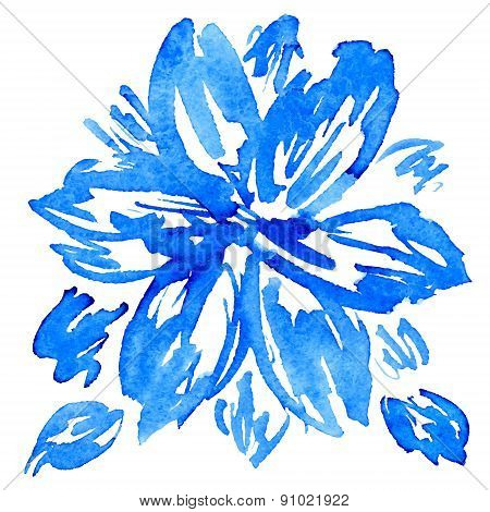 Watercolor Hand Drawn Vector Flower With Leaves.