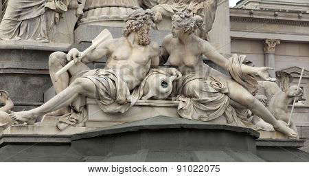 Detail Of Pallas-athene Fountain In Front Of Austrian Parliament, Vienna, Austria.