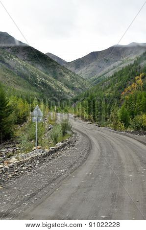 Highway In The Mountains Of Yakutia.
