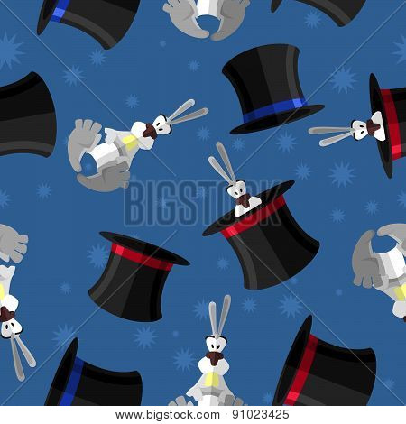 Rabbit in hat seamless pattern. Vector background for magical presentation. Magician attributes: rab