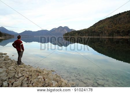 Hiker Is Looking To Lake