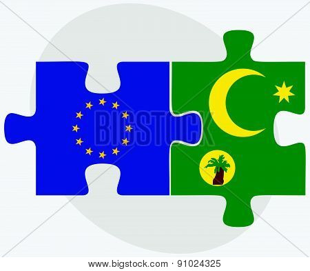 European Union And Cocos (keeling) Islands Flags In Puzzle
