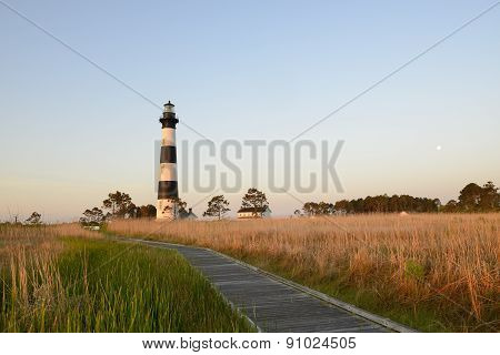 Bodie Lighthouse at Sunrise with Moon