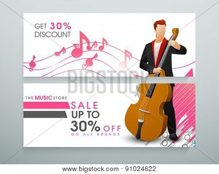 Sale website header or banner design for music store with 30% discount offer.