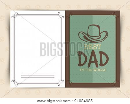 Happy Fathers Day celebrations greeting card design with cowboy hat and stylish text