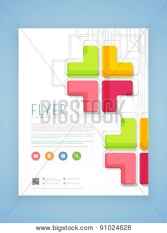 Abstract professional business flyer, template or brochure design for corporate sector.