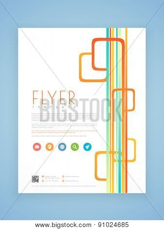 Stylish professional flyer, template or brochure design with colorful lines for business purpose.