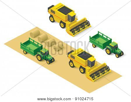 Isometric icons representing combine harvester and tractor