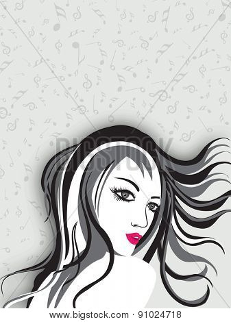 Portrait of a girl on musical notes background.