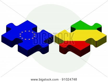 European Union And Congo Flags In Puzzle