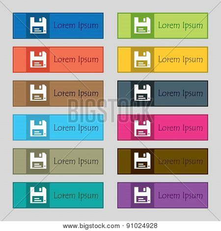 Floppy  Icon Sign. Set Of Twelve Rectangular, Colorful, Beautiful, High-quality Buttons For The Site