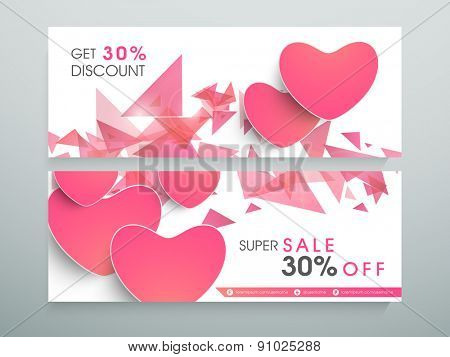 Sale and discount website header or banner with 30% off.