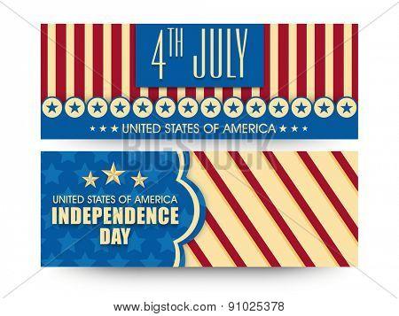 Vintage website header or banner set in national flag colors for 4th July, American Independence Day celebration.