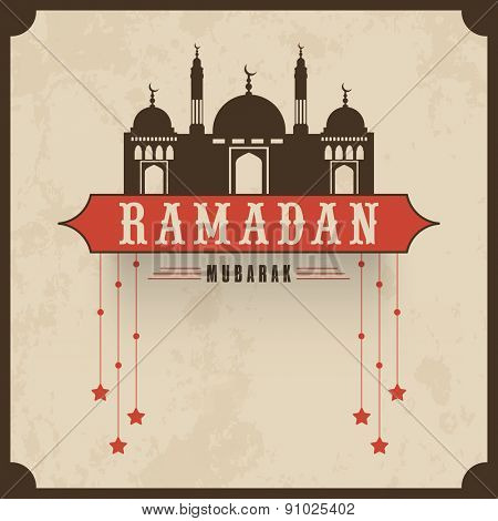 Vintage poster or greeting card design with mosque and hanging stars for Islamic holy month or prayers, Ramadan Kareem celebrations.