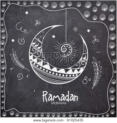 Holy month of Muslim community, Ramadan Kareem celebration with floral design decorated crescent moon on chalkboard background.