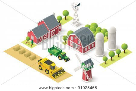 Isometric icons representing farm setting