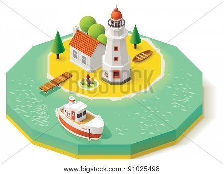 Isometric lighthouse building with pier and ship