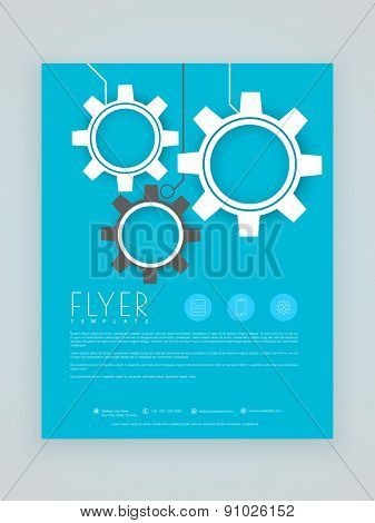 Stylish blue business flyer, template or brochure layout with gear icons.