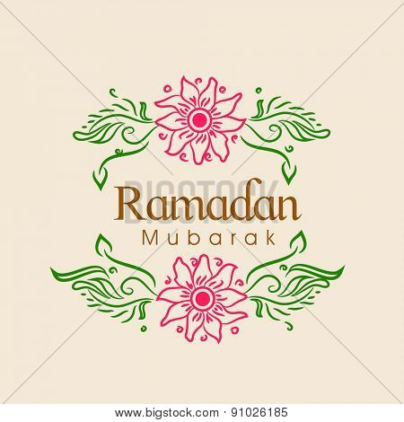 Islamic holy month of prayers, Ramadan Mubarak celebrations greeting card design, decorated with flowers on beige background.