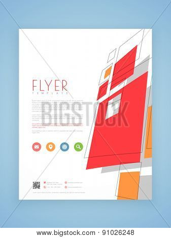 Stylish flyer, template or brochure design with colorful icons for business purpose.