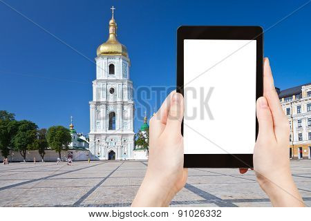 Tourist Photographs Saint Sophia Cathedral , Kiev