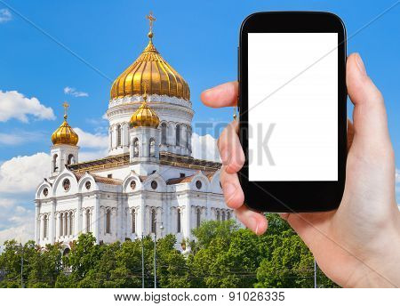 Tourist Photographs Of Cathedral In Moscow