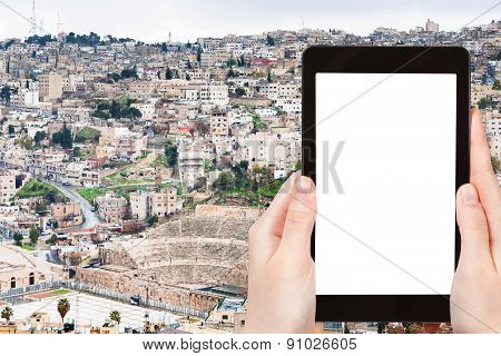 Tourist Photographs Skyline Of Amman City, Jordan