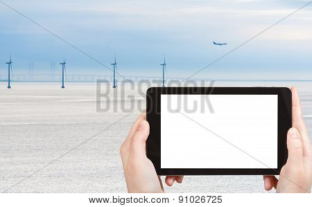 Photo Middelgrunden Wind Farm And Oresund Bridge
