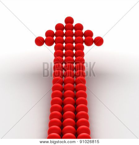 Red arrow from spheres
