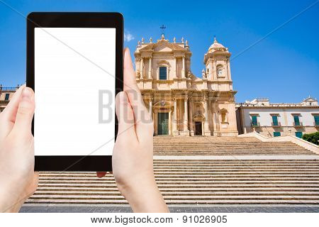 Tourist Photographs Cathedral In Noto Town, Sicily