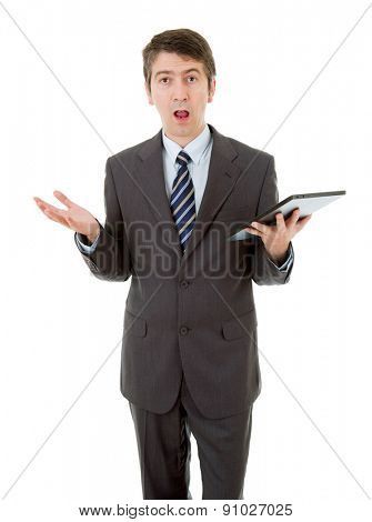businessman surprised and waiting with a tablet pc, isolated