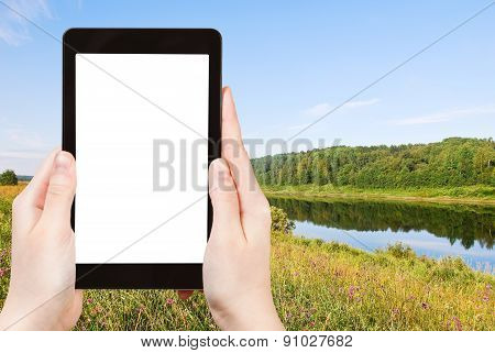Photo Of Green Grass On Riverbank In Summer Day