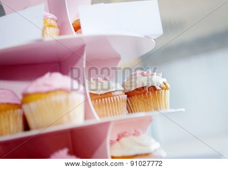 Pink cupcakes and chocolate with whipped cream in cupcake stand