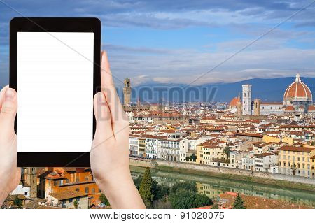 Tourist Photographs Skyline Of Florence City