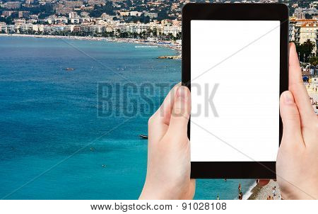 Tourist Photographs Azure Coast In Nice, France