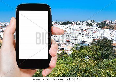 Tourist Photographs Faro Town In Portugal