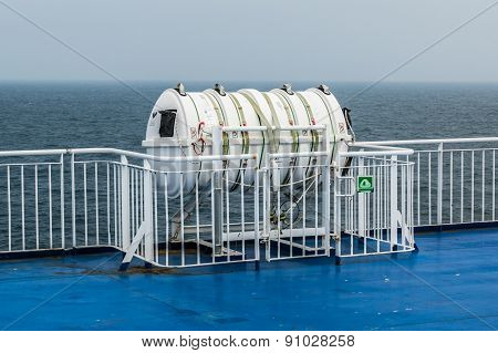 Inflatable liferaft on ferry