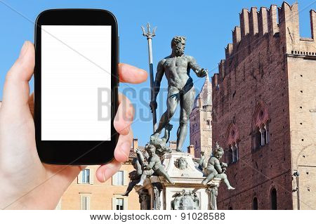 Tourist Photographs Fountain Of Neptune In Bologna