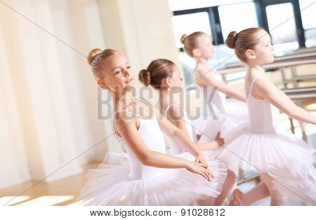 Little Ballerinas In Tutus At The Dance Training