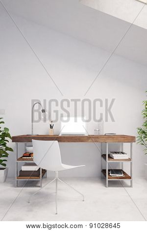 Laptop computer with blank white monitor on a desk in a home office (3D Rendering)